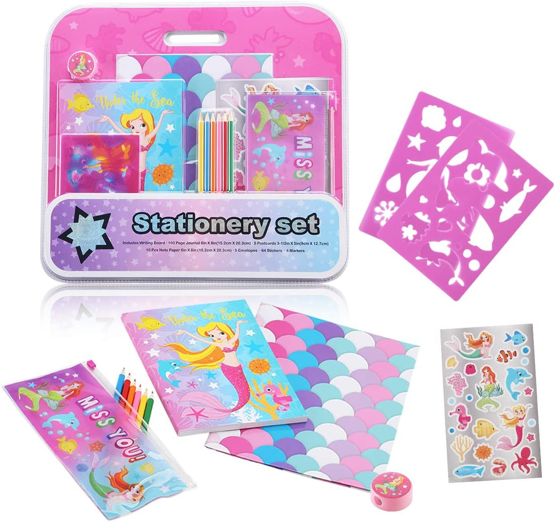 Mermaid theme Creativity kit with Different Shapes etc Drawing Book Colored Pencils Scissors Pencil Sharpener Pencil Case Ideal Kids Gift SUPER STYLE Drawing Stencils Set for Kids