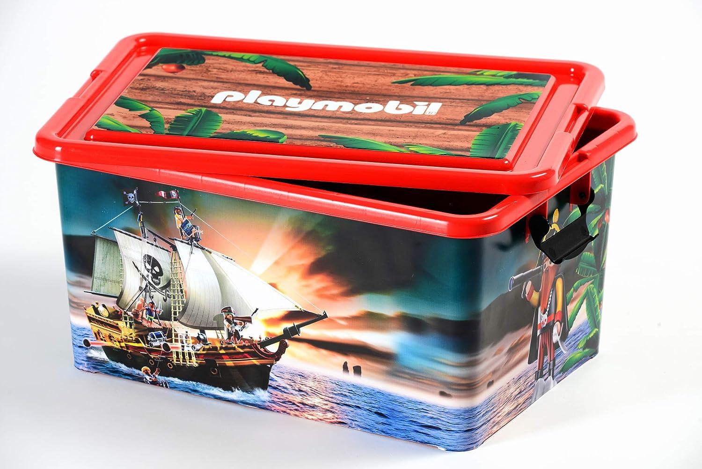 PLAYMOBIL - Caja de almacenaje de plástico, 23 L, 45 x 32 x 22 cm, diseño de Piratas: Amazon.es: Hogar