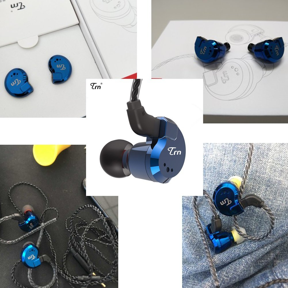 TRN V80 Balance In Ear Headphone, 2BA and 2DD Hi-fidelity Stage Monitor Earphone Metal Studio Audio Headset with Detachable 2Pin Cable Netural Sound Musician Earbuds(Blue No Mic)