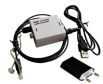 Easyday Convertidor Digital Analógico, White DAC Audio Óptico Coaxial(RCA) Toslink SPDIF de