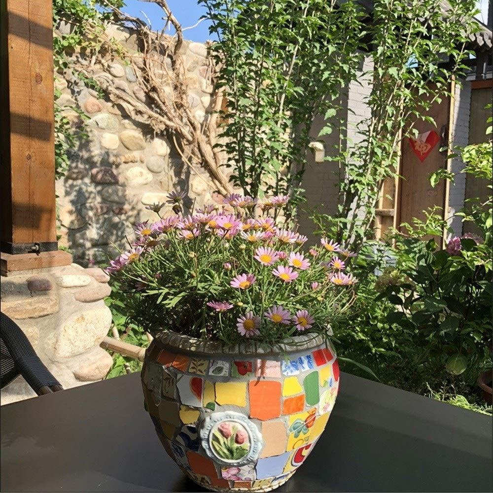 Size : L ZHKY Characteristic Mexico Mosaic Ceramics Outdoor Flower Pot Creative Color Process Pattern Plant Pot Villa Garden Decor Landscape Bonsai External Planters Oversized Gift
