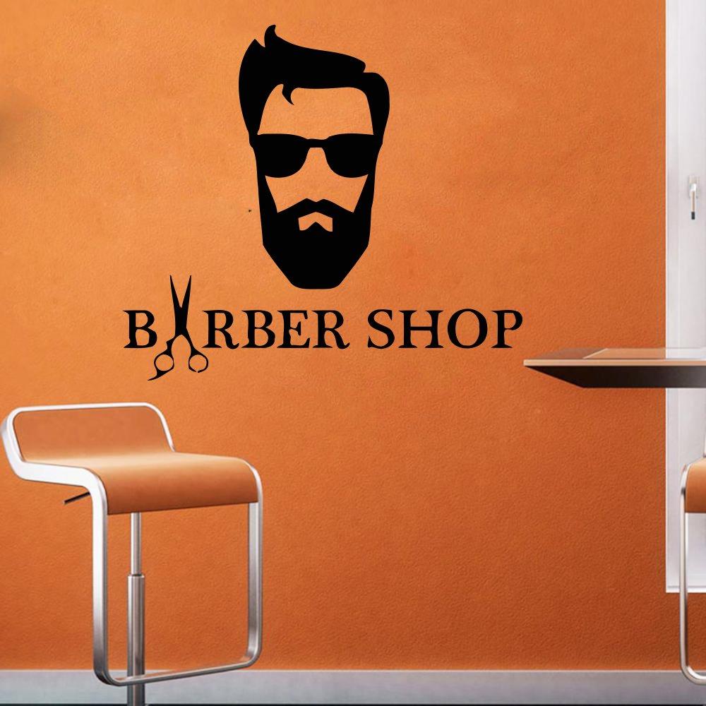Amazon com wall decal window sticker beauty salon face hair salon hairstyle style hair man beard barbershop t159 handmade