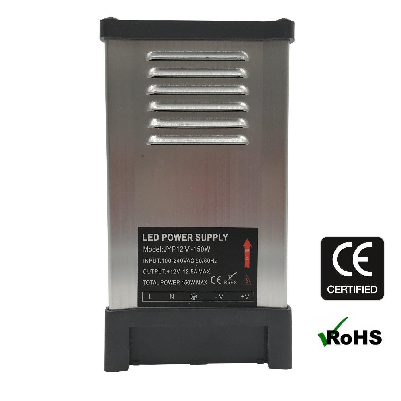Low Voltage Transformer 12V Power Supply Driver Rainproof Power Supply Transformer for Outdoor Landscape Lights 12.5A 150W
