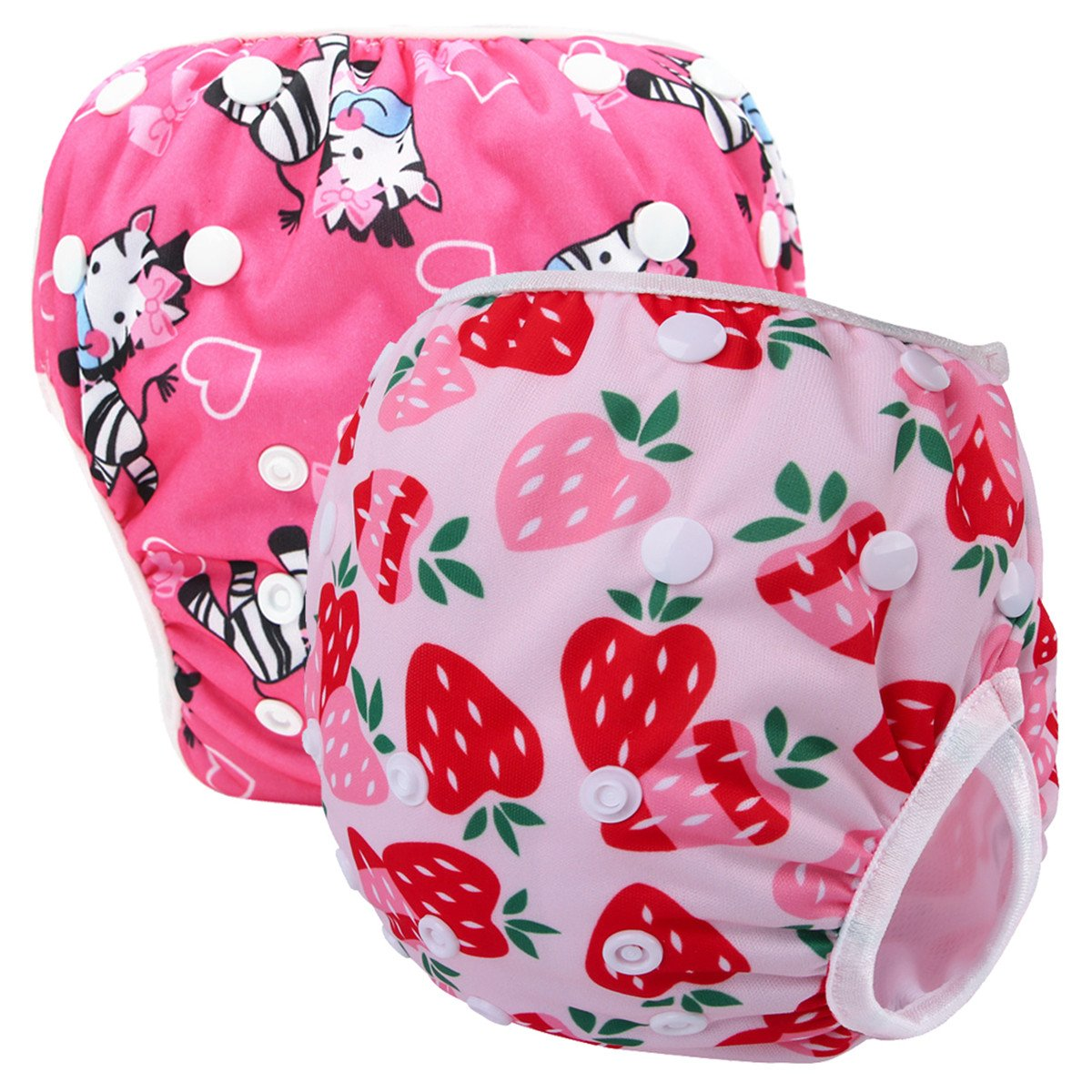 Storeofbaby 2pcs Baby Girls' Swim Diapers Reusable Washable Waterproof Cloth Cover by storeofbaby