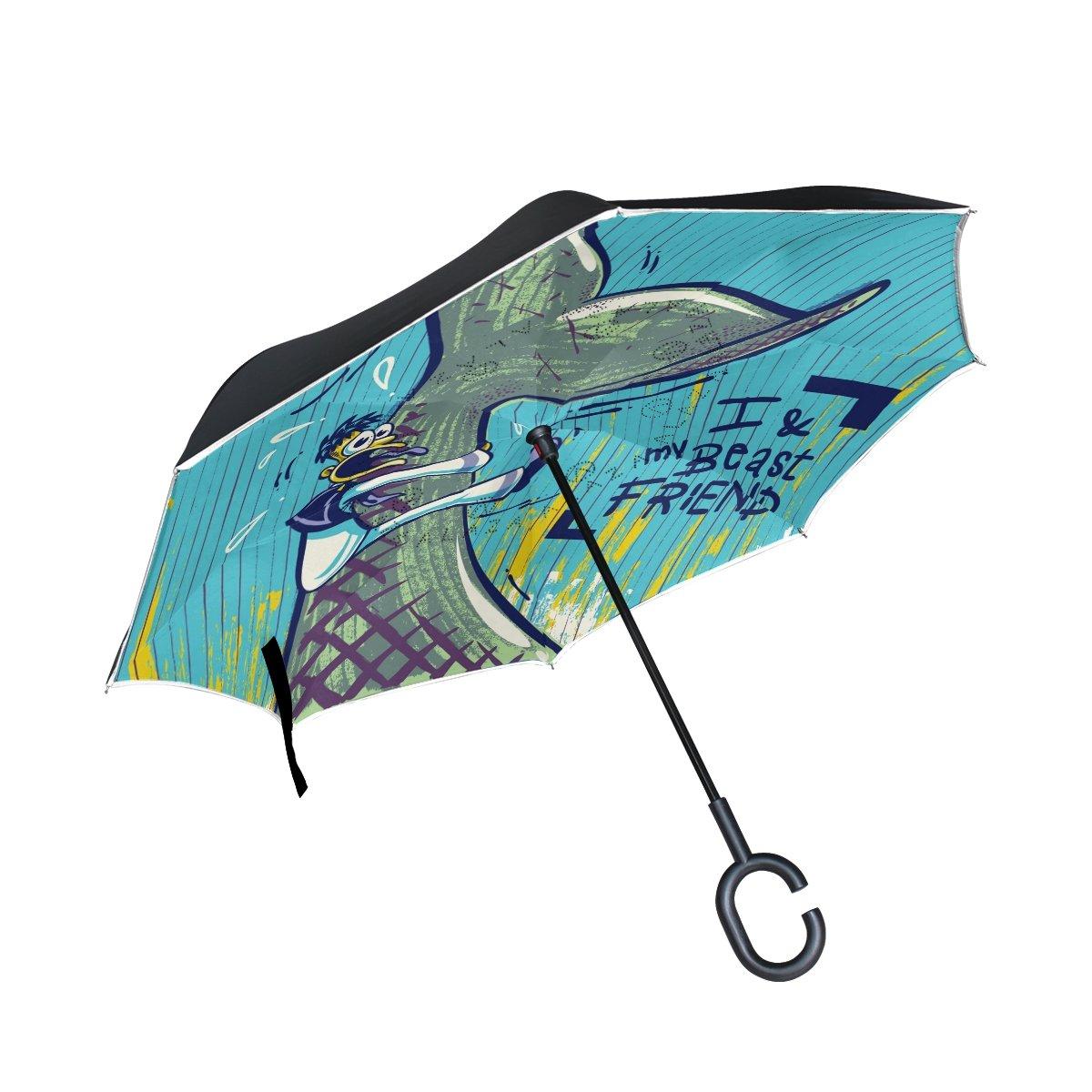 leisisi Cartoon Whale And Sailor逆傘逆二層防風UV保護逆Folding Umbrellas Inverted傘旅行の傘C型ハンドル   B07B8N8JHT