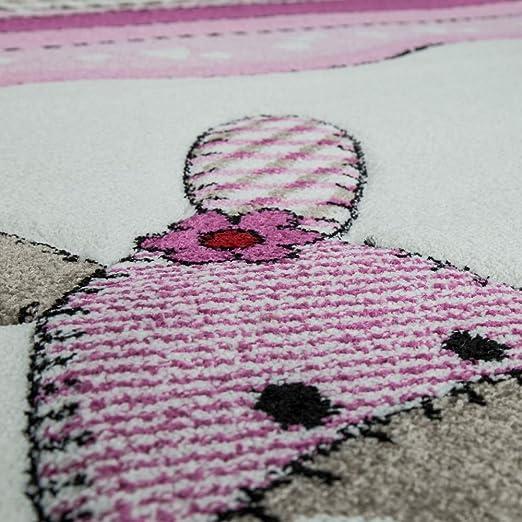 Paco Home Alfombra Habitación Infantil Contorneada Granja Fucsia Crema Colores Pastel, tamaño:120x170 cm