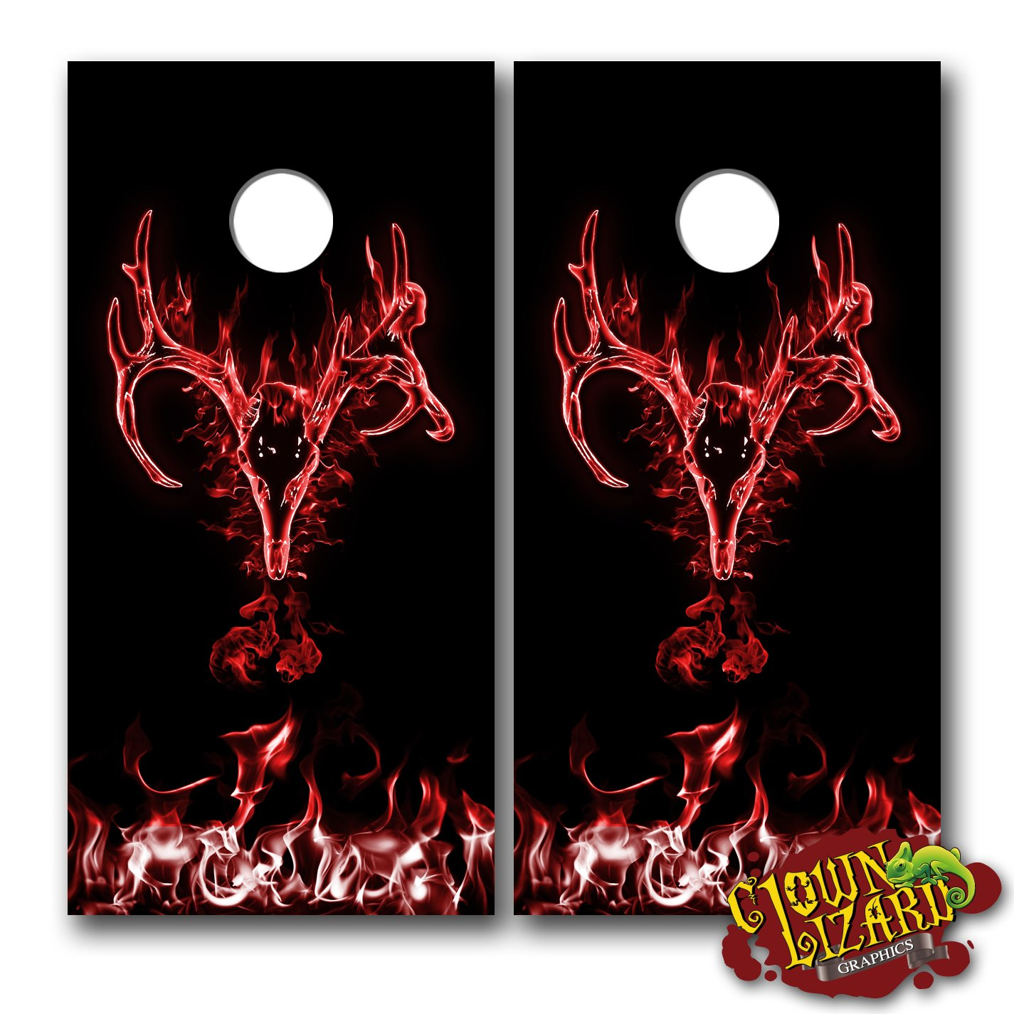 Cl0049 flaming buck skull red cornhole laminated decal wrap set decals board boards vinyl sticker stickers bean bag game wraps vinyl graphic image corn hole