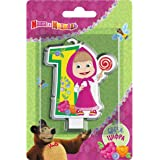 Сandle on a Cake Topper 1 year Birthday Masha and the Bear Must Have Accessories for the Party supplies and Birthday Masha y el Oso para niños