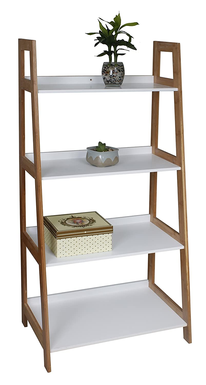 ASPECT 4-Tier Wooden/Bamboo Storage Ladder/Wall Shelf/Ladder Book ...