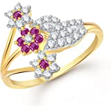 Meenaz Ruby Ring 24K Fancy Flower Party Wear Ring South Indian Traditional Gold Ring For Girls & Women In American Diamond Cubic Zirconia Ring FR322