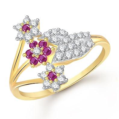 Buy Meenaz Ruby Ring 24k Fancy Flower Party Wear Ring South Indian