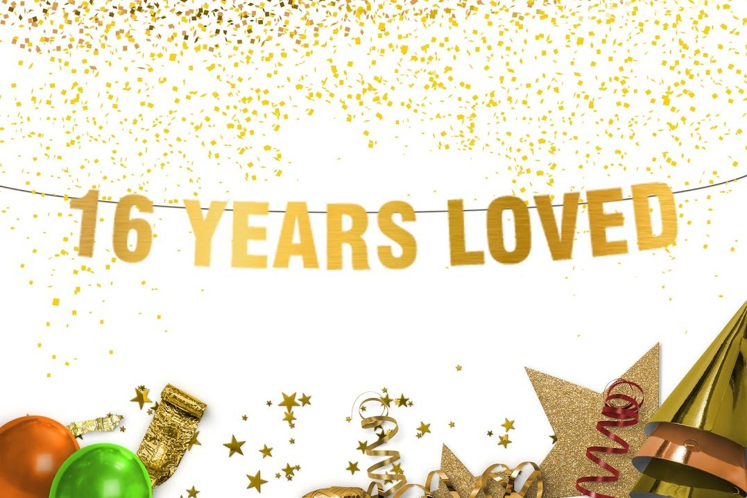 16 Years Loved Banner - sweet 16 - 16th birthday party - birthday decor - Gold banner - 16th birthday party - party banner - photo props - sweet sixteen decorations - anniversary decor-gifts under 16