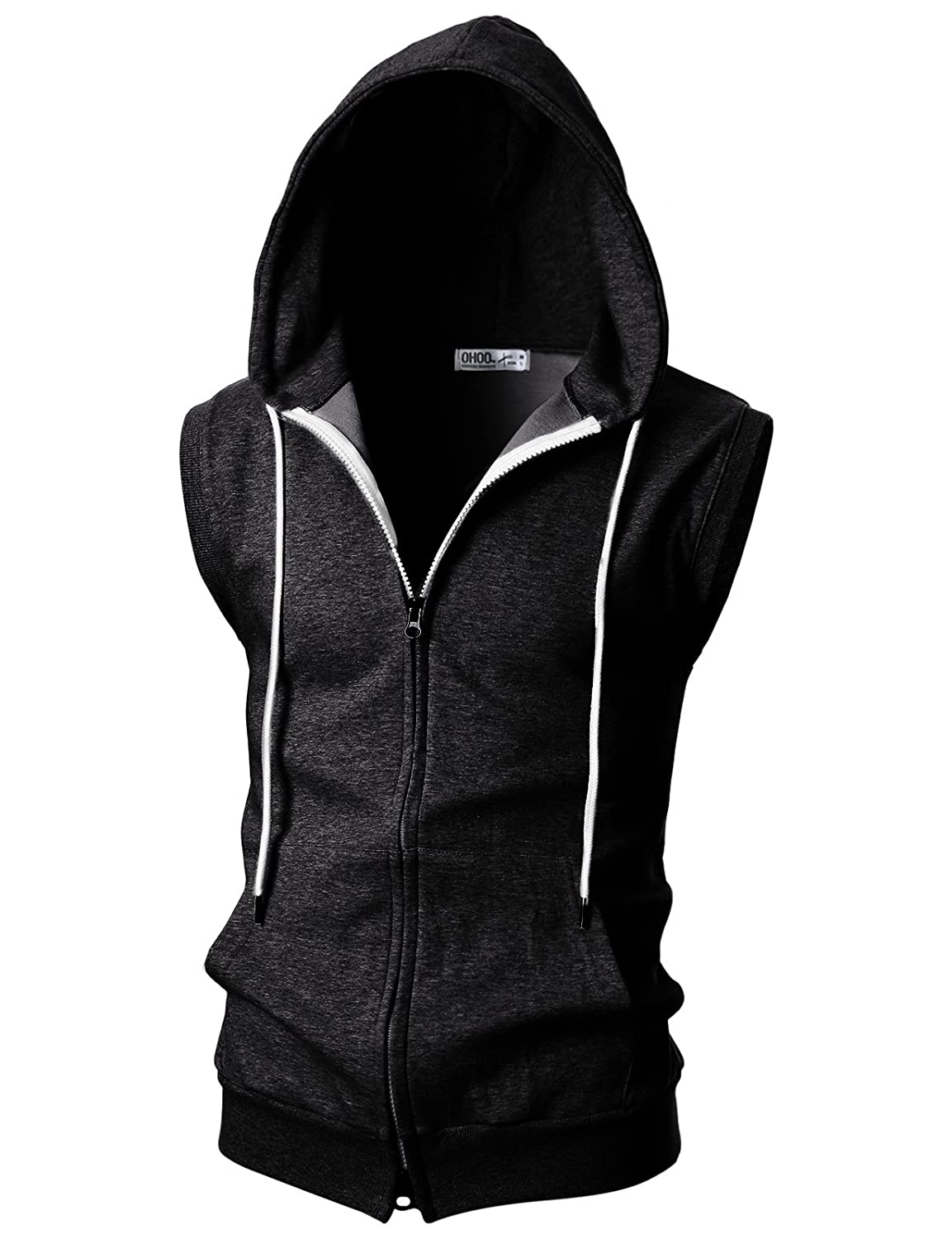 efe1ebd1e OHOO Mens Slim Fit Sleeveless Lightweight Zip-up Hooded Vest with Zipper  Trim at Amazon Men's Clothing store: