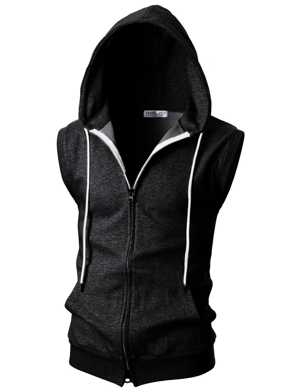 Ohoo Mens Slim Fit Sleeveless Lightweight Zip-up Hooded Vest with Double Slide Zipper/DCF011-CHARCOAL-XXXL