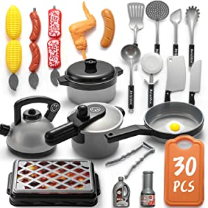 WADILE Kitchen Play Toys Sets 30PCS Plastic with Barbecue Cookware Playset Pot Pans Food Prentend Play Accessories Learning Gift for Girl Boy Kids Toddles