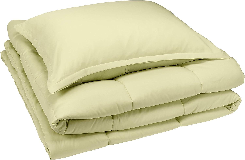 AmazonBasics Comforter Set, Twin / Twin XL, Aloe Green, Microfiber, Ultra-Soft