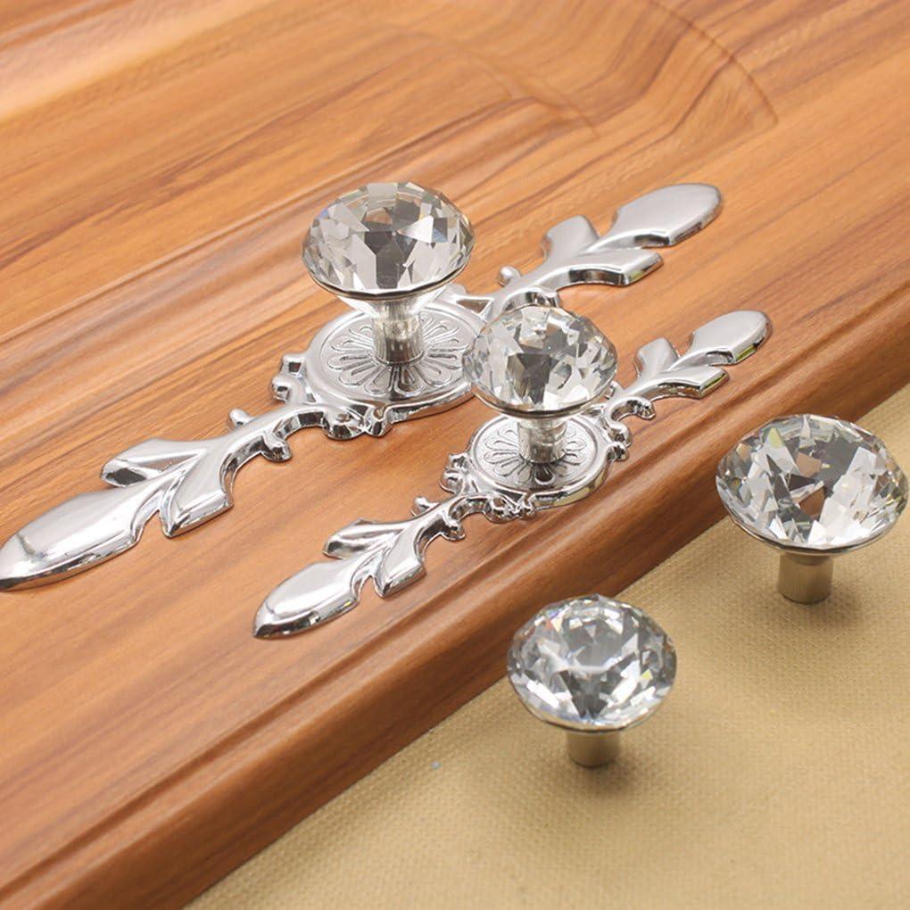 Bobury Europeas Estilo Claro de Cristal cristalinos perillas de Flores Tirador para Armario de la Cocina Cuarto de ba/ño de la manija de la Puerta del guardarropa