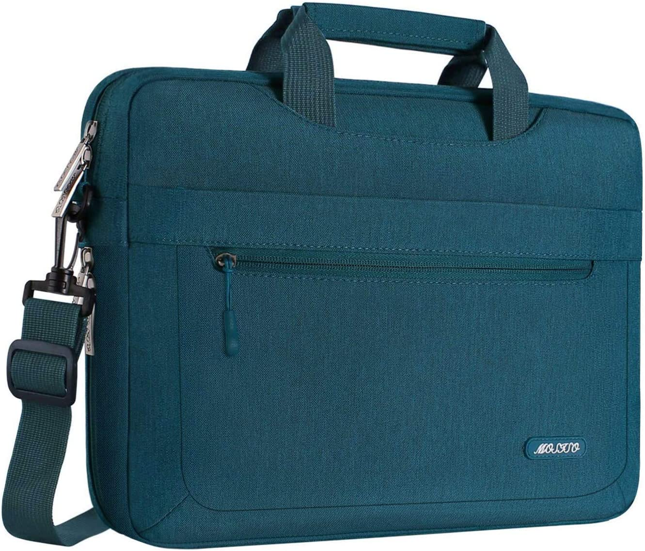 MOSISO Laptop Shoulder Bag Compatible with 13-13.3 inch MacBook Pro, MacBook Air, Notebook Computer, Polyester Messenger Carrying Briefcase Sleeve with Adjustable Depth at Bottom, Deep Teal