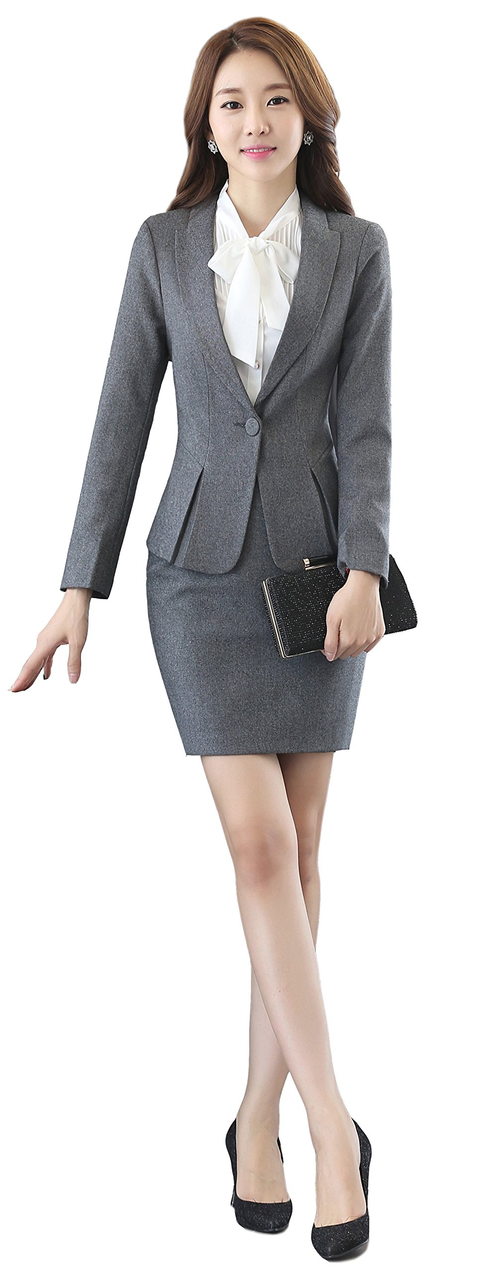 uruoi New Year Gift Women's Two Piece Office Lady Blazer Business Suit Set Skirt Gray XL