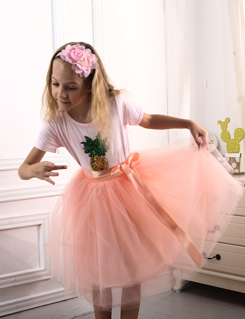 Zcaynger Girls Skirt Tutu Dancing Dress 5-Layer Fluffy with Ribbon by Zcaynger (Image #2)