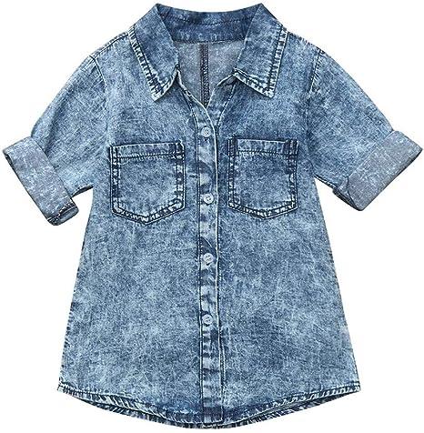 Topgrowth Jeans Bimba Vestito in Denim Manica Lunga Abito Camicia di Jeans Abiti Neonata Casual Cappotto Denim T-Shirt Vestiti