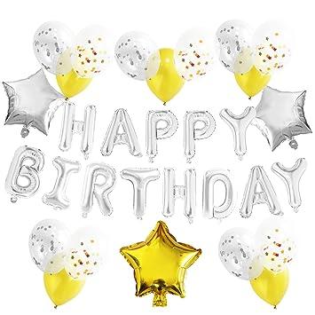 """KUNGYO Decoraciones de Fiesta de Cumpleaños para Adultos y Niños, Plata """"Happy Birthday"""""""
