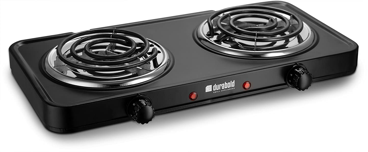 Kitchen Countertop Cast-Iron Double Burner - Stainless Steel Body – Ideal for RV, Small Apartments, Camping, Cookery Demonstrations, or as an Extra Burner – by Durabold (Black)