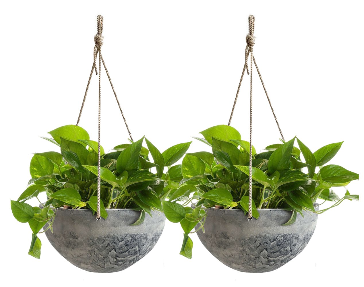 199 & Hanging Planter Flower Plant Pots - 10 Inch Indoor Outdoor Balcony Basket Patio Resin Set 2 Marble Pattern