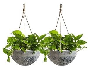 "Hanging Planter Flower Plant Pots - 10"" Indoor Outdoor Balcony Basket Patio Resin Set 2, Marble Pattern"