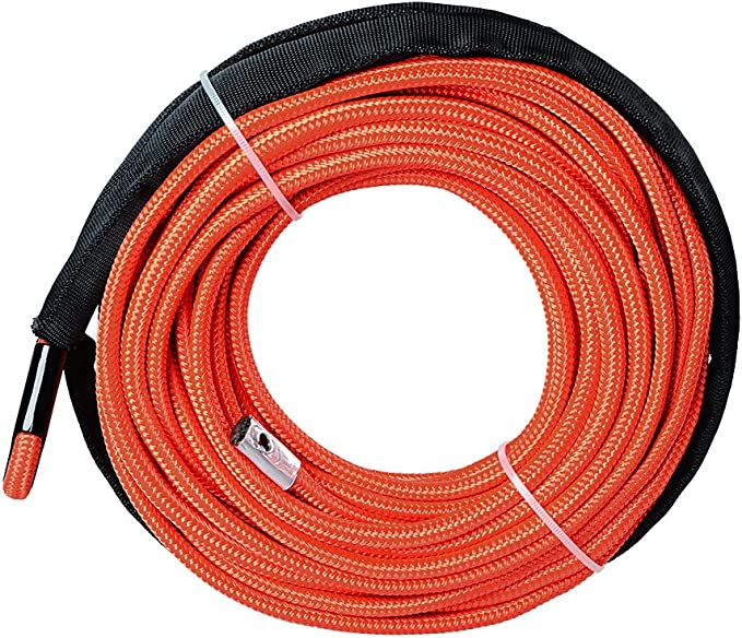 HiwowSport 1//4 x 50 7700LBs Synthetic Winch Line Cable Rope with Sheath ATV UTV Orange Color