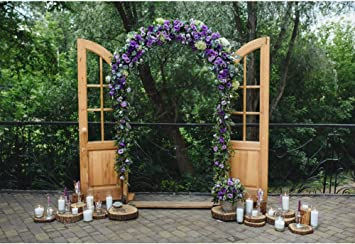 amazon com leyiyi purple wedding arch backdrop 7x5ft photography background outdoor wedding ceremony wedding reception vintage wooden door candle nature brick floor kids adults photo props camera photo leyiyi purple wedding arch backdrop 7x5ft photography background outdoor wedding ceremony wedding reception vintage wooden door candle nature brick