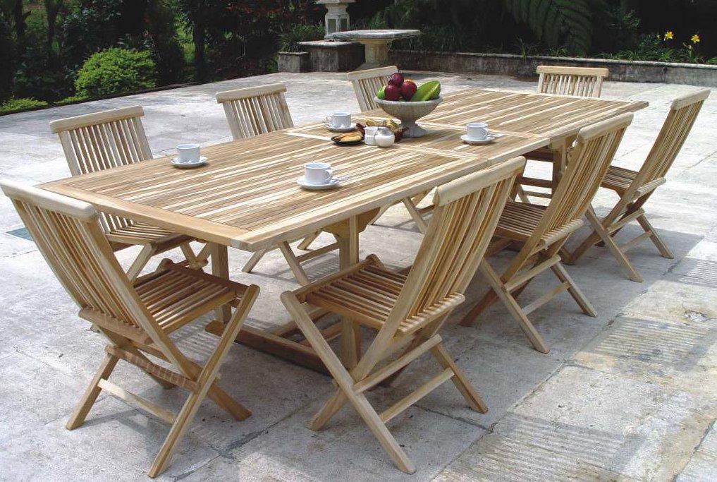 XXS® Möbel Gartenmöbel Set Caracas 9tlg Acht Praktische Klappstühle Menorca  Und Ein Tisch Caracas Ausziehbar Hochwertiges Teak Holz Sehr Pflegeleicht  Lager ...