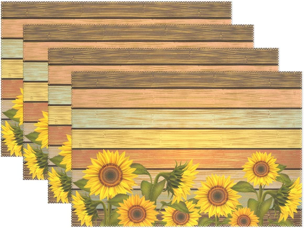visesunny Placemat Table Mat Desktop Decoration Illustration of Sunflowers and Leaves Varicolored Wooden Board Placemats Set of 4 Non Slip Stain Heat Resistant for Dining Home Kitchen Indoor 12x18 in