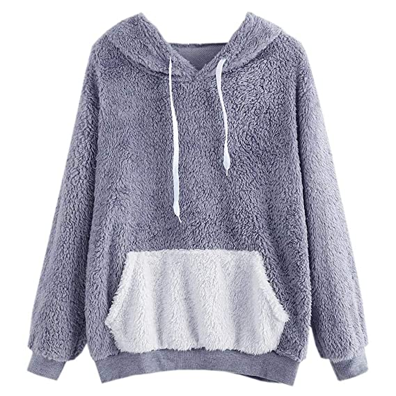 Amazon.com: Fashion Women Causal Hoodies Sweatshirts Autumn Winter Fluffy Tops Pullover Pocket: Clothing