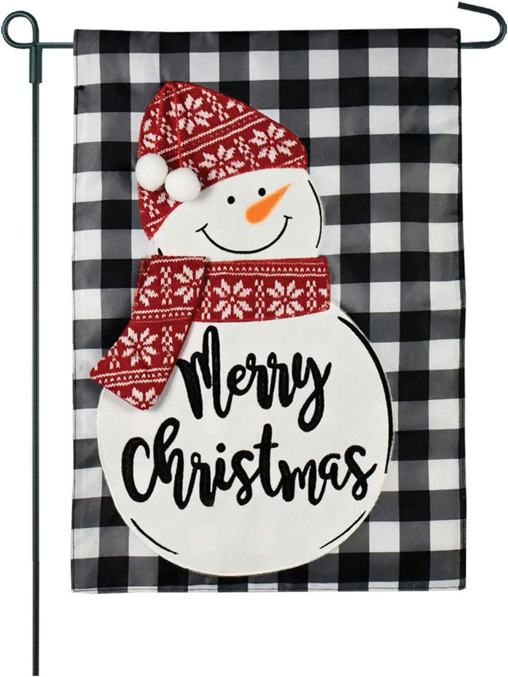 Twisted Anchor Trading Co Merry Christmas Garden Flag - Snowman Garden Flag Buffalo Plaid Burlap Holiday Home Garden Flag 12.5 x 18