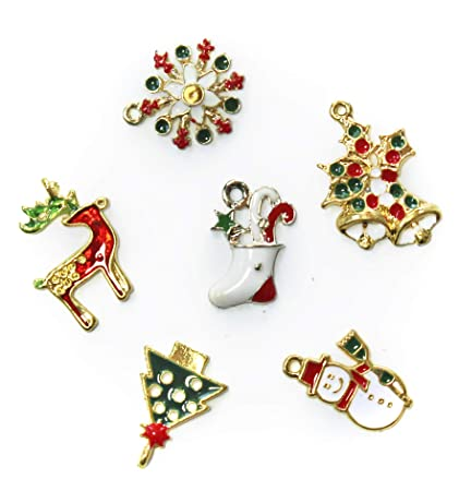 all in one mixed gold plated christmas charms pendants findings for diy jewelry making 14pcs - Christmas Charms
