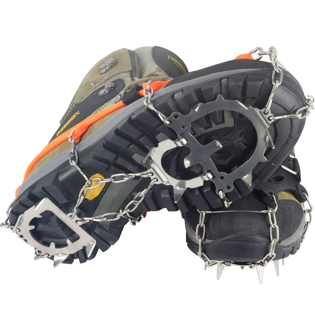 YUEDGE Universal 12 Teeth Stainless Steel Anti Slip Ice Cleats Shoe Boot Grips Crampon Snow Spikes Grips Traction Cleats For Winter Walking Hiking(Orange,L)
