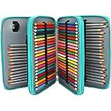Soucolor 120 Slots Pencil Case PU Leather Handy Pencil Wrap with Zipper Super Large Capacity Pen Bag for Prismacolor…