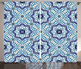 Moroccan Curtains by Ambesonne, Moroccan Portuguese Style Classic Tiles Ornaments Asian Historical Buildings Art, Living Room Bedroom Window Drapes 2 Panel Set, 108 W X 84  Inches, Blue White