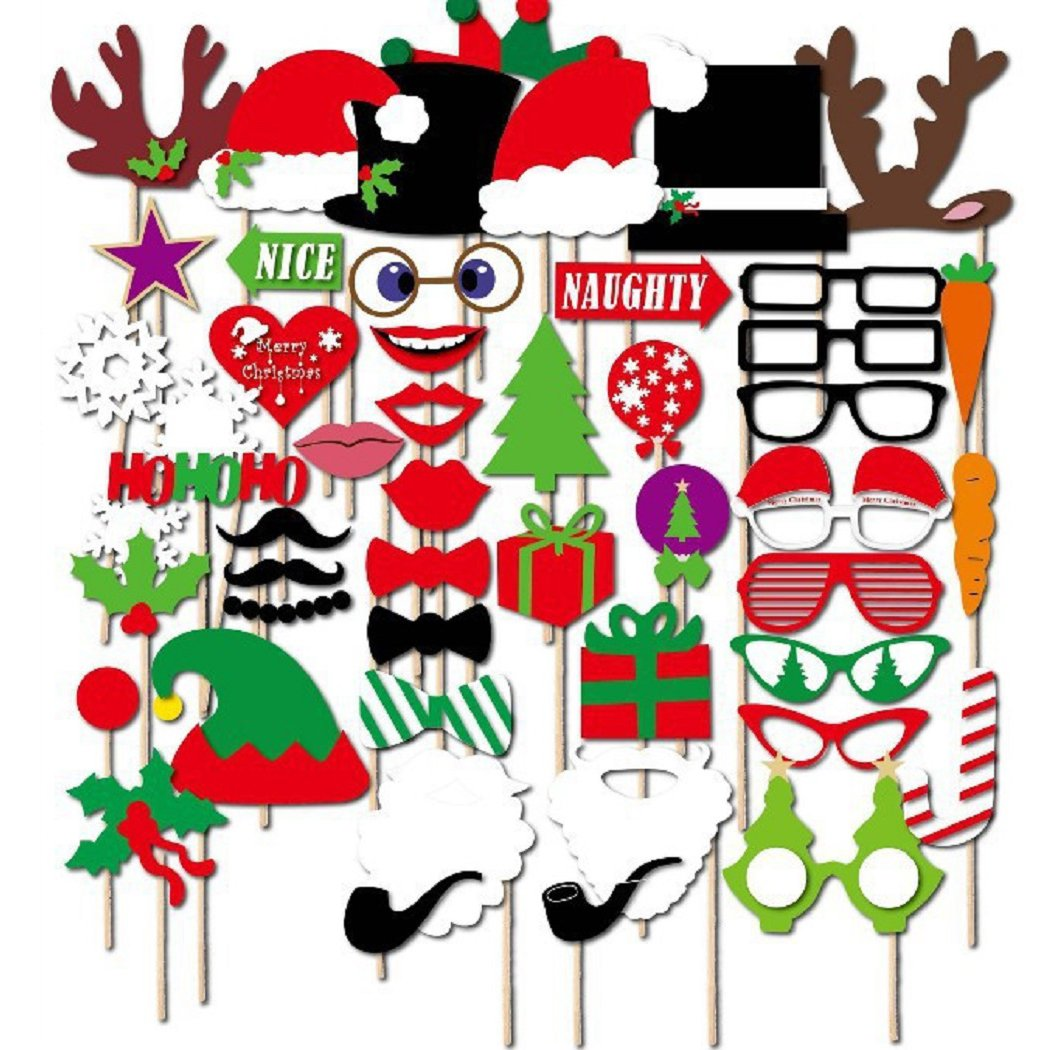 50 Pcs Christmas Photo Booth Props Set Merry Christmas Photo Props Kit for Party Decoration Supplies Mishiner