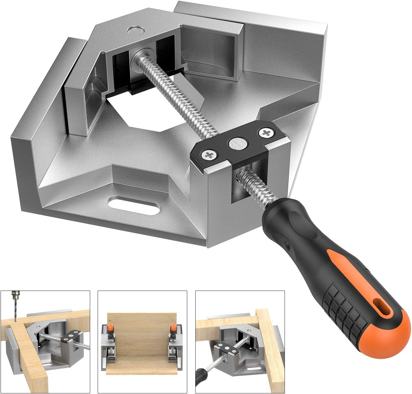 Right Angle Clamp, Housolution Single Handle 90° Aluminum Alloy Corner Clamp, Right Angle Clip Clamp Tool Woodworking Photo Frame Vise Holder with...