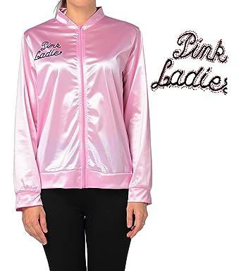 dad781649e7 Amazon.com  Vintageplace23 50 s Pink Lady Jacket Costume Fancy Dress with  Rhinestone  Clothing