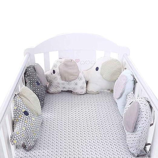 Fornateu Cuna Cama Parachoques 6pcs recién Nacido del Respaldo del Amortiguador de Elefante Animal bebés y niños pequeños Ropa de Cama Alrededor de la ...