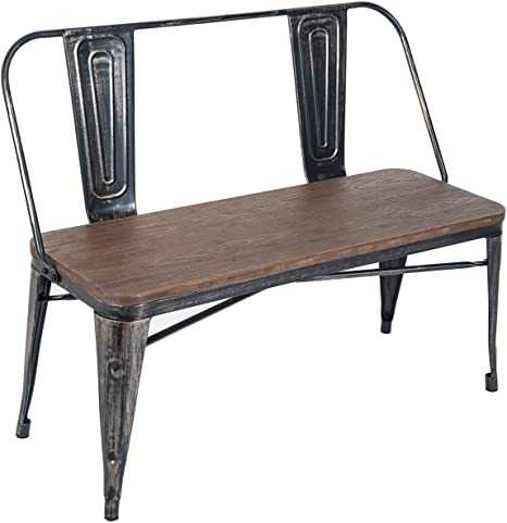 Amazon Com Dining Table Bench With Wooden Seat Panel And Metal Backrest Legs Distressed Black Ship From Usa Warehouse Table Benches