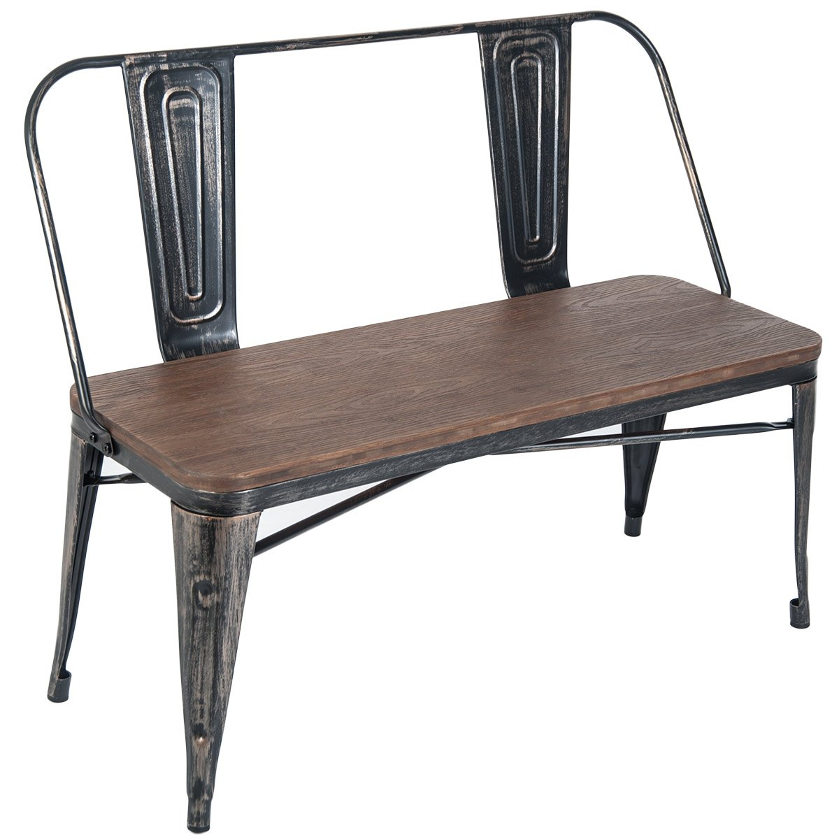 Merax Rustic Vintage Style Distressed Dining Table Bench with Wooden Seat Panel Metal Backrest and Metal Legs, Distressed Black by Merax