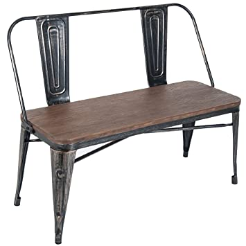Merax Stylish Distressed Dining Table Bench With Wooden Seat Panel And Metal Backrest Legs