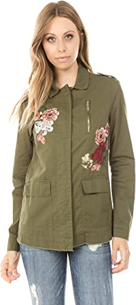 Ashley by 26 International Womens Cotton Anorak with Floating Floral Embroidery Detail