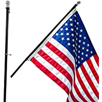 Grace Alley Flag Pole: 6 Foot Tangle Free Spinning Flag Pole. Residential or Commercial Flag Pole. Wind Resistant/Rust Free. (Black)