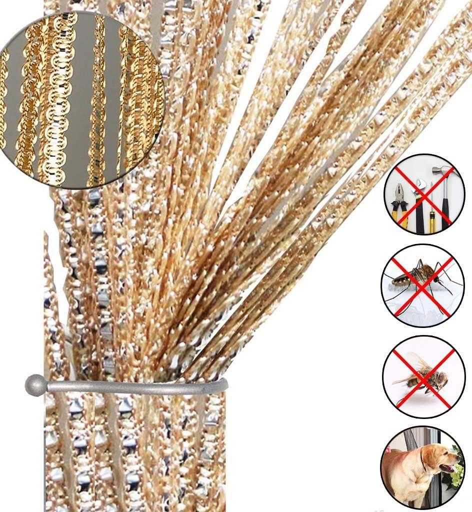 AIZESI - Cortina de tiras para puerta o ventana, protección contra insectos, moscas, panel divisor puertas o ventanas, tela, dorado, 39