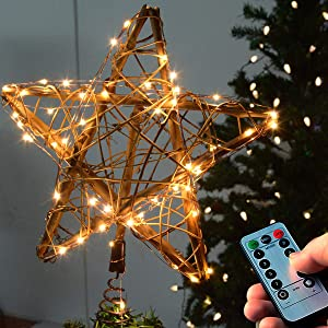 kingleder Star Christmas Tree Topper with 50 LEDs Remote Warm White Light String for Xmas Treetop Decorations
